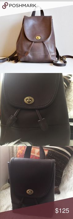 90's vintage mini Coach backpack Excellent vintage condition dark choc brown very sought after Coach mini backpack Coach Bags Backpacks