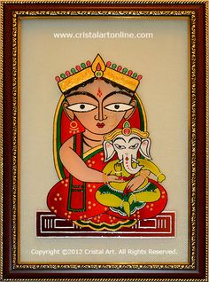 Jamini Roy: Parvati and Ganesha - Glass Painting by CristalArt - more info @ http://www.cristalartonline.com/item_details.php?id=TVRNPQ==