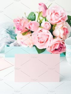 Blank paper pink card Valentine's day and roses invitation by Life Morning Photography on @creativemarket