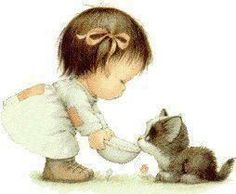 Images Ruth Morehead - Page 2 Illustration Mignonne, Cute Illustration, Pictures To Paint, Cute Pictures, She And Her Cat, Art Mignon, Holly Hobbie, Cat Cards, Baby Owls