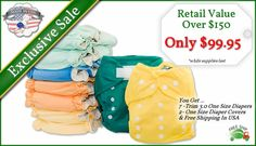 Affordable Cloth Diapers Cloth Diapering Packages With 7 Tiny Tush Trim One Size Cloth Diapers and 2 Tiny Tush One Size Diaper Covers