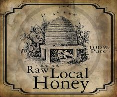 Primitive Vintage Pure Raw Honey Label Jpeg Digital  Image Feedsack Logo for Pillows Labels Hang tags Magnets Ornies