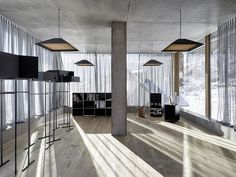 the highly efficient acoustic curtain STREAMER pro (aw facing the inside, ensures good room acoustics and protects the sunlight. Ancient Greek Architecture, Chinese Architecture, Architecture Office, Futuristic Architecture, Peter Zumthor, Therme Vals, Room Acoustics, Concrete Bench, Architecture Wallpaper