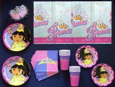 DORA THE EXPLORER PRINCESS Deluxe Birthday Set Supplies with FREE SHIPPING!