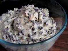 Chocolate chip cookie dough dip.  The extremely awesome family & consumer science teachers at school had the kids make this. Oh. My. Ah+mazing!
