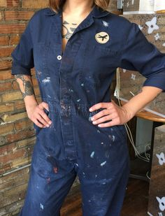 We take old coveralls from the 30s-50s and make them wearable for woman. Fashionable and useful for everyday wear! Use for painting, warmth, getting dirty, or downright being different than all of he other cookie cutter styles strutting down the street these days!! We love them paired with huge beat up boots, flip flop or chucks!! Please make sure the shoulder to floor measurement works for you, as they are supposed to be worn baggy and the inseam doesnt matter that much. They are all OLD…