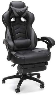 RESPAWN 110 Racing Style Gaming Chair, Reclining Ergonomic Leather Chair with Footrest, in Gray Toddler Lounge Chair, Best Office Chair, Office Chairs, Room Chairs, Office Chair Makeover, Chaise Gaming, Reclining Office Chair, Swivel Chair, Chair Cushions