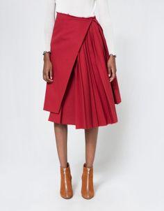 Plisse Skirt in Red