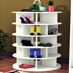 """Lazy """"ShoeSan"""" Revolving Susan...5-Tier Shoe Organization...Women's Shoes...Handmade     * French Carrousel Design, rotating Lazy Susan.    * Each Tier Holds approximately 6 pairs of shoes    * Keep a"""