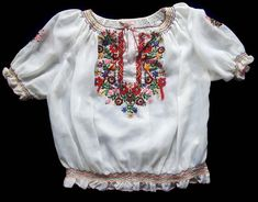 Hungarian Embroidery Vintage Hungarian 1940 Handmade Floral Embroidery Blouse No. 42 Fast Color - Good vintage pre owned condition. Size M. Made in Hungary. Hungarian Embroidery, Learn Embroidery, Floral Embroidery, Embroidery Stitches, Embroidery Patterns, Embroidery Techniques, Chain Stitch, 1930s, Cream White