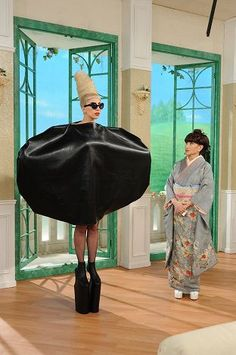 "Lady Gaga at ""Tetsuko no Heya"", a Japanese TV show. This costume looks so funny."