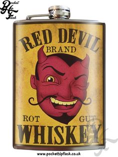 Art inspired stainless steel Red Devil hip flask @ The Pocket Hip Flask Company: