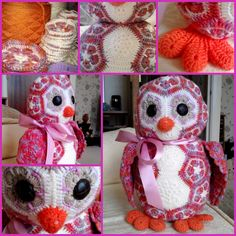 Athena The OWL  The african flower Owlet crochet pattern: available at -- Heidibearscreativeblogspot  http://www.ravelry.com/designers/heidi-bears