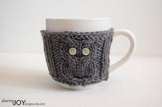 Owl Knit Mug Warmer by SharingJoyDesigns on Etsy,