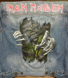 """Painted Denim Jacket Commission Iron Maiden """"Eddie"""""""