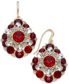 Charter Club Gold-Tone Clear & Red Crystal Cluster Drop Earrings, Created for Macy's - Gold