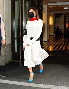 White Dress Outfit, White Outfits, Dress Outfits, Dresses, Victoria Beckham Outfits, Victoria Beckham Style, The Beckham Family, Spice Girls, Colorful Fashion