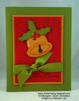 """Welcome to Day Four of Punchy Christmas Cards! Today's card was made by me! I learned how to do the bell from Heather Summers. Isn't it an adorable bell! Punches/Dies Used: Wide Oval = More Mustard Bell """"dome"""" Large & Small Oval = More Mustard Bell """"opening"""" 1-1/4"""" Square = Strip of Chocolate Chip for bell """"clanger"""" 1/4"""" Circle = Chocolate Chip for bell """"clanger"""" Large Oval Punch = Old Olive for Leaves (use 1/2"""" Circle punch to punch away leaf shape) 1/4"""" Circle = Real Red Holly Berries…"""