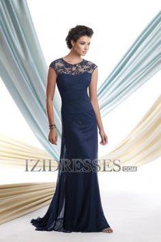 Sheath/Column High neck Chiffon Lace Mother of the Bride Dresses - IZIDRESSES.COM at IZIDRESSES.com