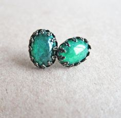 Green Earrings Dark Green Emerald Teal Sea Green Earrings LOTR Inspired Lord of the Rings Jewelry. $20.00, via Etsy.