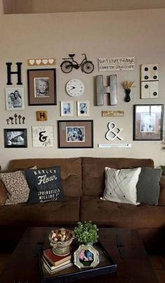 An awesome family picture wall decoration idea on a neutral colored gallery wall. ----------------- An awesome family picture wall decoration idea on a neutral colored gallery wall. Decor, Interior, Wall Decor Pictures, Living Room Decor, Home Decor, House Interior, Living Room Wall, Family Pictures On Wall, Interior Design