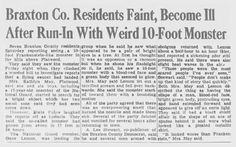 A newspaper clipping of the story of the Flatwoods Monster