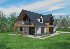 This chalet style design incorporates many of the contemporary features that are very popular today. The mix of white render, cladding and grey brick Dormer Bungalow, Modern Bungalow House, Bungalow Exterior, Bungalow Renovation, Modern Farmhouse Exterior, Craftsman Bungalows, House With Balcony, Self Build Houses, Timber Frame Homes