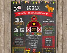 Farm Birthday Chalkboard Sign Printable - Barn Birthday Chalkboard, Digital Birthday Poster