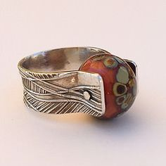 Sterling ring with lamp work bead