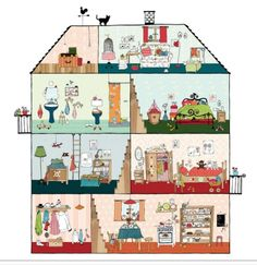 Home Sweet Home Wall Panel A delightful wall art panel featuring a complete play house. Four floors of fun with kitchen, living room and bedrooms to keep in order.