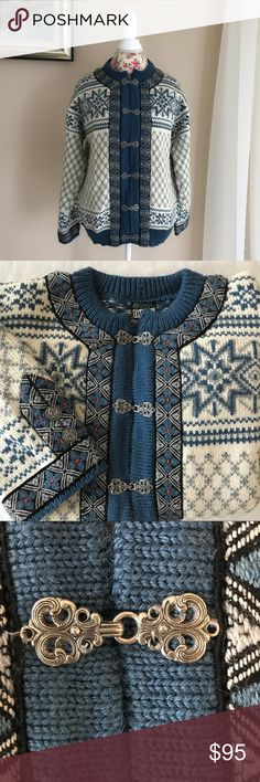 Dale of Norway Vintage Wool Sweater Amazing Clasps This vintage sweater is so gorgeous!  The intricate metal clasp fasteners and buttons make it really special.  It is in very good vintage condition.  This sweater will keep you warm! Vintage Sweaters Cardigans