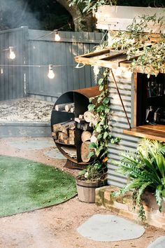 Firewood storage: I ronbark Fire Pit Logs, Fire Pits, Deck Fire Pit, Garden Fire Pit, Mini Stand, Outdoor Rooms, Outdoor Living, Garden Design, House Design