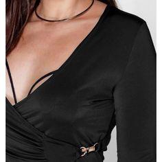 JENNY SLINKY WRAP CLASP TRIM DRESS Brand New with Tags!!!! Black Wrap Dress with Clasp. Super cute. Very sexy Boohoo Plus Dresses Long Sleeve