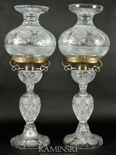 Two Monumental Brilliant Cut Glass Lamps