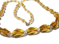 Amber Glass Necklace Very Long with Big Faceted by RibbonsEdge #GotVintage  #Vintage  #Jewelry
