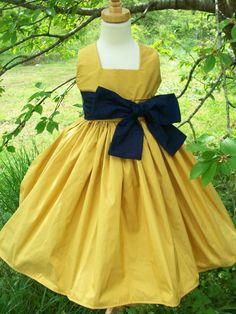 Gold and Navy Silk Flower Girl Party Dress by mapletree2000, $100.00