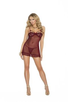 48788674ad Elegant Moments - Burgundy Mesh Babydoll with Matching G-String