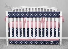Crib Bedding by Leah Ashley, Custom Nursery Design, leahashley.net made in:  navy polka dot,  pink,  sides 3,  pink,  navy polka dot,  navy polka dot,  pink,  1 long 2 short,   Custom Crib Bedding - Bumperless - Baby Bedding - Cot Bedding - Nursery Bedding - Teething Rail Cover - Crib Cover - Baby Girl Bedding - Baby Boy Bedding - Gender Neutral Bedding