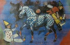 Bogusław Lustyk 'Circus 2 Clowns and Horse' - Polish Poster, 1989