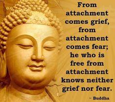 Von Befestigung kommt Trauer , von der Bindung kommt Angst ; er, der frei von Anhaftung ist kennt weder Schmerz noch Angst. Buddha / From attachment comes grief , from attachment comes fear ; he who is free from attachment knows neither grief nor fear . Buddha
