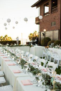 Long Beach Museum Of Art Wedding Beautiful Garland Centerpieces