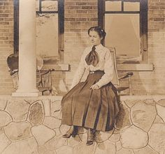 Edwardian Fashions- Young Woman on the Porch- 1910s Vintage Photograph- RPPC