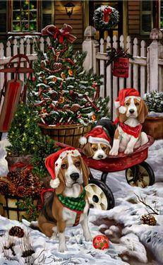 """New for 2015!  Beagle Christmas Holiday Cards are 8 1/2"""" x 5 1/2"""" and come in packages of 12 cards. One design per package. All designs include envelopes, your personal message, and choice of greeting.Select the inside greeting of your choice from the menu below.Add your custom personal message to the Comments box during checkout."""