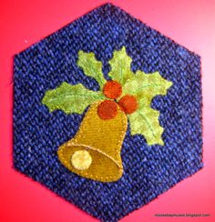 I thought I was going to celebrate a red letter day--my Stitching Society 180 wool hexagons were all finished! Wool Applique Patterns, Felt Applique, Print Patterns, Felted Wool Crafts, Felt Crafts, Felt Christmas, Christmas Crafts, Wool Quilts, Wool Embroidery