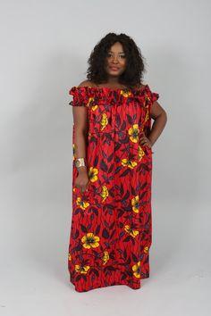 Vêtements africain: nouvelle Akua Rose hors épaule robe