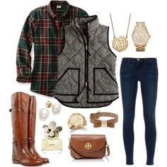 A fashion look from August 2013 featuring flannel top, herringbone vest and blue skinny jeans. Browse and shop related looks. Adrette Outfits, Preppy Outfits, Fashion Outfits, Vest Outfits For Women, Fashion Vest, Preppy Fashion, Cowgirl Fashion, Woman Outfits, Fashion Top