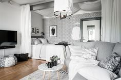 Are you interested to make an enchanting white studio apartment as an idea for your own house? In making this studio apartment, it can be started from how this White Studio Apartment, Studio Apartment Divider, Minimalist Studio Apartment, Apartment Decoration, Small Studio Apartments, Studio Apartment Decorating, Cozy Apartment, Apartment Living, Bedroom Apartment