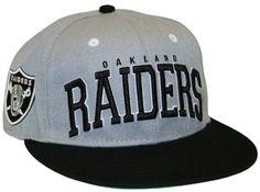 Oakland Raiders Big Text 2 Tone Flatbill Snapback Hat   Sport Snapback Hats