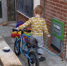 Gas station for outside! Genius! At the daycare I worked at kids pretended to fill up gas with the hose.