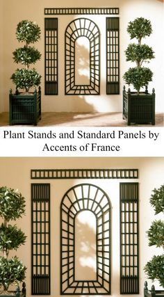 Standard Panel against the wall and plant stands, green color Plant Stand, Pergola With Roof, Pretty House, Green Colors, Arch Trellis, White Rooms, French Architecture, Mid Century Ranch, Trellis Panels